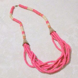 Vintage Hot Pink Wooden Bead Necklace
